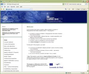موقع جامعة لند السويدية التي تقدم درجة الماجستير في نظم المعلومات الجغرافية مجاناً عن بعد